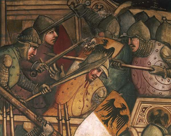 Naval Battle at Punta di San Salvatore, scene from the Stories of Alexander III, 1407-1408, by Spinello Aretino (ca 1350-1410), fresco, Priory Room, Public Palace, Siena (UNESCO World Heritage List, 1995), Tuscany. Detail. Italy, 15th century.