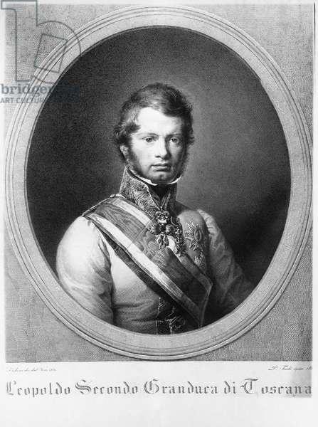 Portrait of Leopold II (1747-1792), Grand Duke of Tuscany, lithograph, 1833