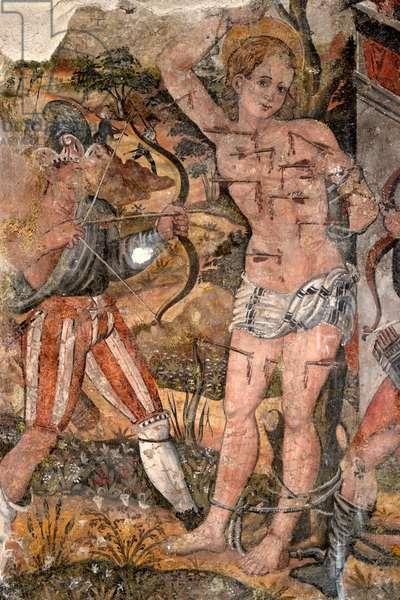 Martyrdom of St Sebastian, 1550-1560, fresco by Giovanni Todisco, Church of St Francis, Potenza, Basilicata, Italy, 16th century