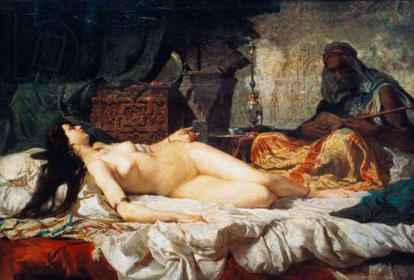 Odalisque (Turkish slave), 1861, painting by Mariano Fortuny y Carbo (1838-1874), oil on cardboard, 56, 9x81 cm