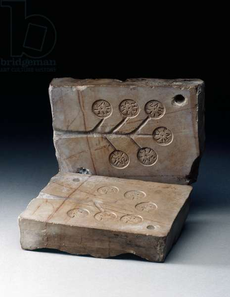 Bi-valve limestone mold for metal tiles with writing Lt and Tithasi on both sides, House of Shrine, Herculaneum, Campania, Italy, Roman civilization, 1st century AD
