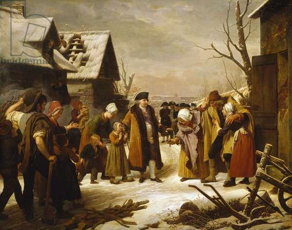 Louis XVI Distributing Alms to the Poor of Versailles during the Winter of 1788, 1817 (oil on canvas)