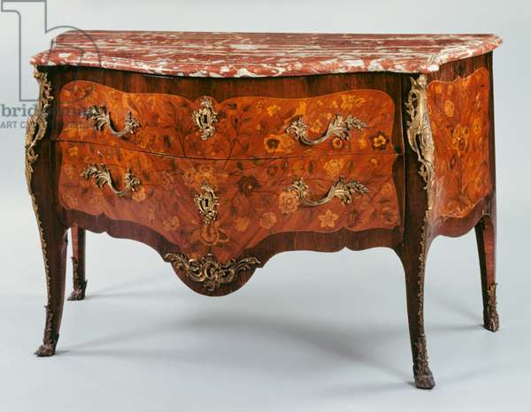 Louis XV style commode, in veneered wood and inlaid with flowers, leaves, birds and butterflies, red marble top, arched legs and chiseled and golden bronze ornaments, stamped by Chevallier et Lardin, 90x146x69cm, France, 18th century