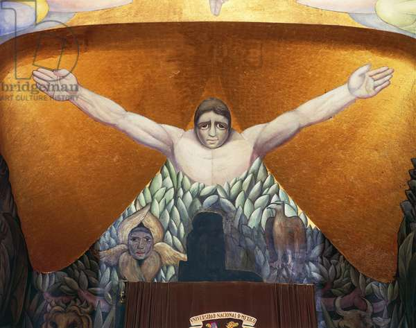 Man being born from the tree of life, detail from Creation, 1921-1923, by Diego Rivera (1886-1957), fresco, Simon Bolivar Amphitheatre, Mexico City. Mexico, 20th century.
