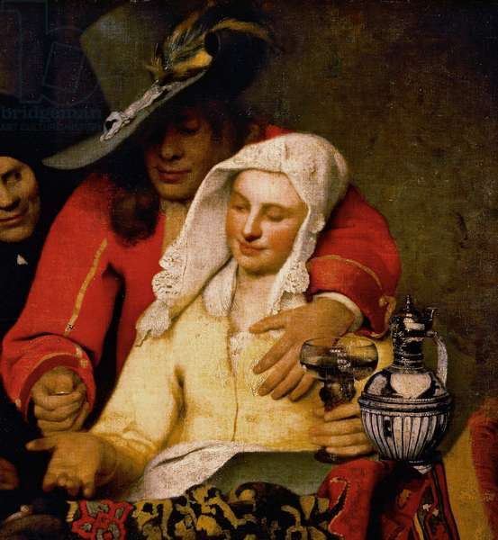 A man holds out a coin to a woman touching her breast, detail from The Procuress, 1656, by Jan Vermeer (1632-1675), oil on canvas, cm 143x130