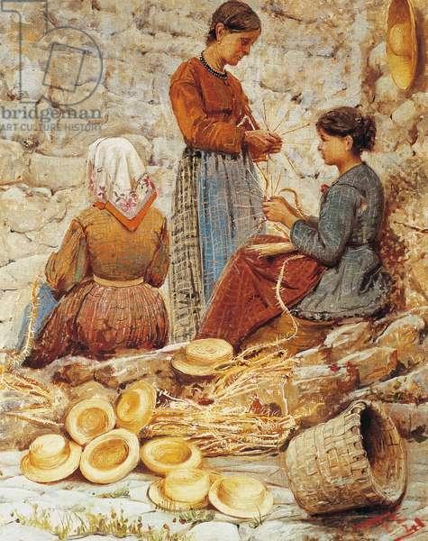 Tuscan straw plaiters (Trecciaiole), 1882, by Fabio Fabbi (1861-1946), oil on canvas, 50x40 cm. Italy, 19th century.