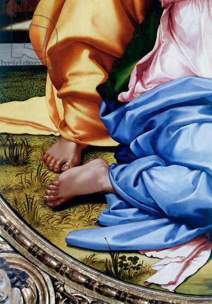 The Holy Family or Tondo Doni, detail of the feet, 1503-1504 (tempera on panel)