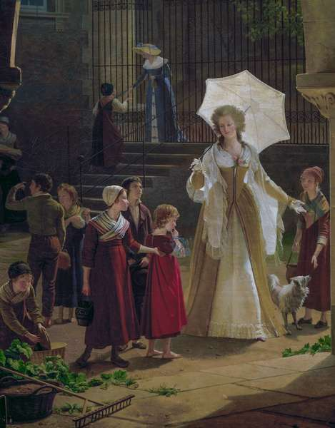 Elisabeth, Louis XVI's sister, distributing alms to children in her garden in Montreuil, 1817, painting by Fleury Francois Richard, Detail