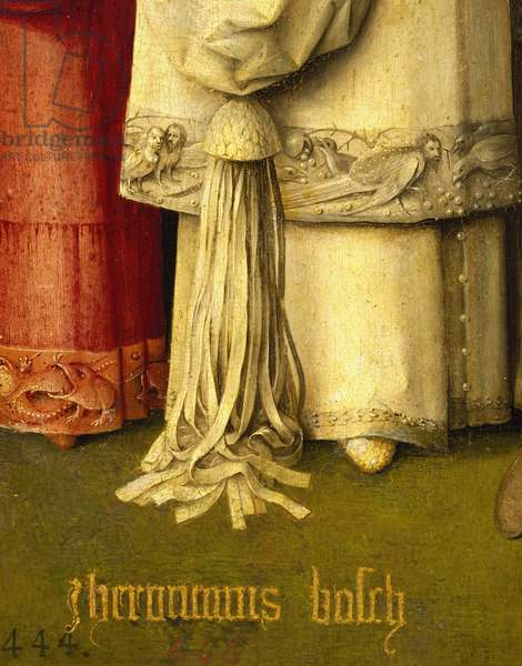 Adorned with fringe of Gaspar's dress and signature of author, detail from Adoration of the Magi, by Hieronymus Bosch, 1510, oil on canvas, Circa 1450-1516, 138x144 cm