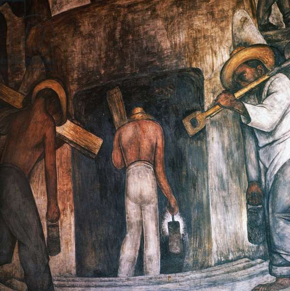 Entry into the mine, 1928, by Diego Rivera (1886-1957), detail from the Ministry of Education frescoes (1923-1928), Mexico City. Mexico, 20th century.
