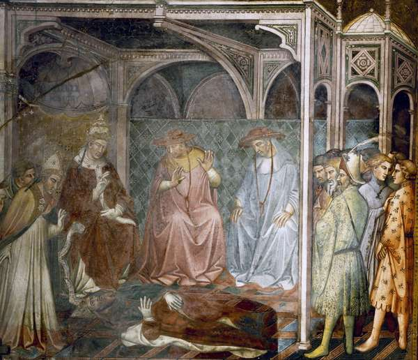 Barbarossa kneeling before the Pope, scene from the Stories of Alexander III, 1407-1408, by Spinello Aretino (ca 1350-1410), fresco, Priory Room, Public Palace, Siena (UNESCO World Heritage List, 1995), Tuscany. Italy, 15th century.