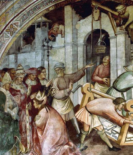 The foundation of city of Alexandria, detail of fresco History of Pope Alexander III, 1407, by Spinello Aretino (1346-1410), Palazzo Pubblico, Siena, Tuscany, Italy