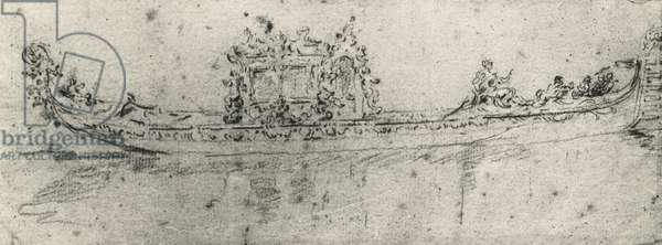 Gondola reserved for ambassadors, by Francesco Guardi (1712-1793), drawing.