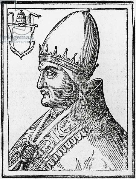 Portrait of Pope Innocent IV (born Sinibaldo Fieschi, ca 1195-1254), Pope from 1243 to 1254, engraving, 1677