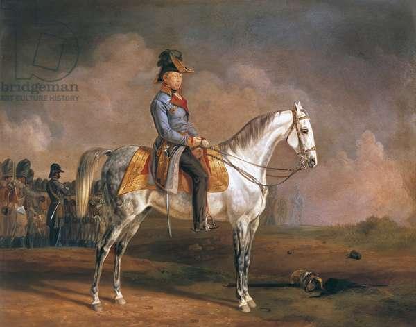 Equestrian portrait of Josef Radetzky (Sedlcany, 1766-Milan, 1858), Austrian field marshal, Painting by Albrecht Adam (1786-1862)