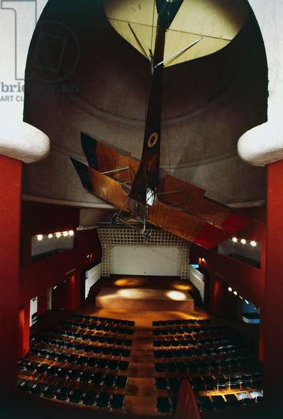 Auditorium of Schifamondo Palace, and under dome biplane Sva with which Gabriele d'Annunzio made flight over Vienna on August 9, 1918, Shrine of Italian Victories, 1921-1938, Gardone Riviera, Lombardy, Italy.