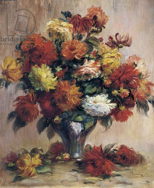 Dahlias, by Pierre-Auguste Renoir, oil on canvas, 1841-1919, 65x54 cm