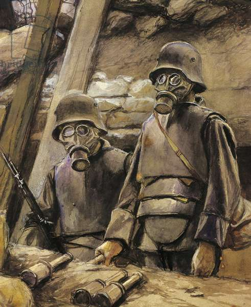 German Soldiers with Gas Masks, August 1917
