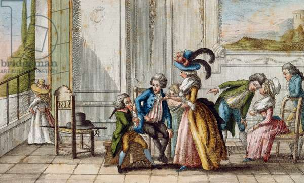 Tuscan game La berlina, by A Bicci, colour engraving, Italy, 18th century