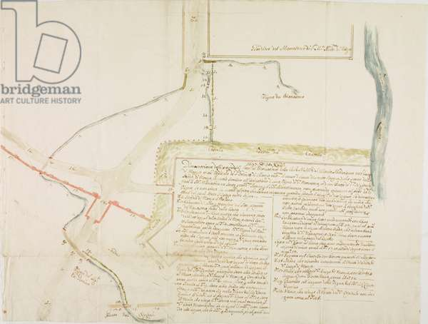Planimetry of monastery of Saint Mary Magdalene of Monza, map for water dispute, December 30, 1697, watercolour ink drawing, Italy, 17th century