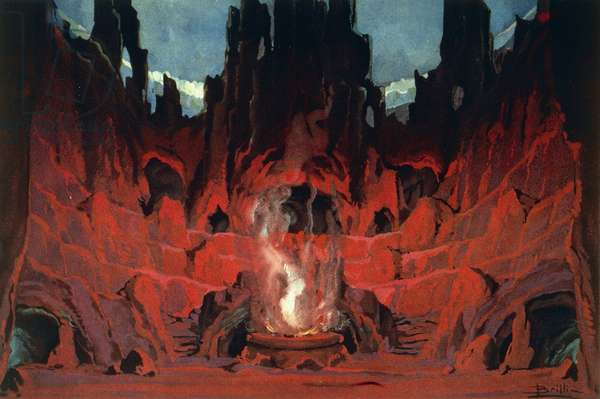 Set design by Luigi Brilli for second act, scene II of Mefistofele (Mephistopheles), 1868, opera by Arrigo Boito (1842-1918)