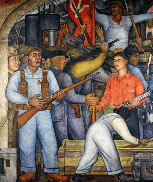 Arsenal, by Diego Rivera (1886-1957), detail from the Ministry of Education frescoes (1923-1928), Mexico City. Mexico, 20th century.