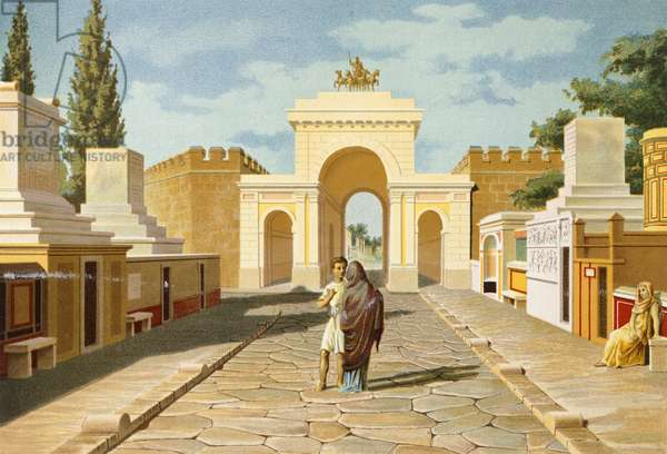 Reproduction of the Gate of Herculaneum, from The Houses and Monuments of Pompeii, by Fausto and Felice Niccolini, Volume IV, Essays in Restoration, Plate XIV, 1854-1896.