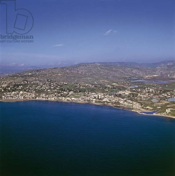 Aerial view of buildings at a seaside, Marina di Palma, Sicily, Italy (photo)