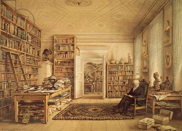 Portrait of Alexander von Humboldt (Berlin, 1769-1859), German naturalist, explorer and botanist, posing in his library, Engraving from painting by Eduard Hildebrandt (1818-1868), circa 1856