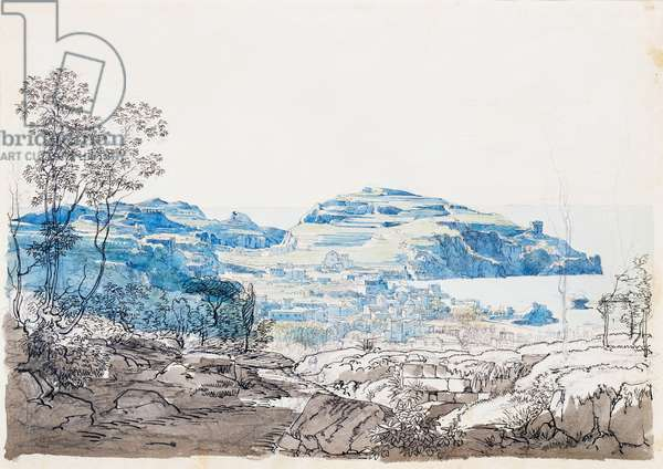 View of Ischia (Lacco Ameno), ca. 1845, by Giacinto Gigante (1806-1876), pencil, pen and watercolor, 27.9x40.6 cm