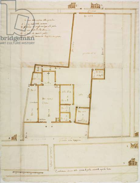 Plan of church of Saint Stephen, Milan, on occasion of pastoral visit of Cardinal Federico Borromeo, ink drawing coloured with diluted ink and watercolour, Italy, 17th century