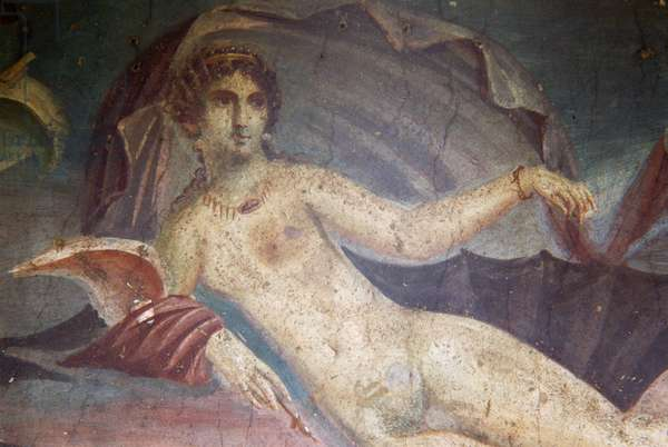 Venus in shell, detail from fresco in peristylium, House of Venus in the Shell, Pompeii (UNESCO World Heritage List, 1997), Campania, Italy, Roman civilization, 1st century AD