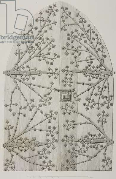 Panel of a wrought iron door in Lahneck castle, Germany, drawing by Hoffmann, engraving by J Bury and Jean-Joseph Sulpis (1826-1911), from L'Architecture du V au XVI siecle et les Arts qui en dependent, 1853-1857, by Jules Gailhabaud (1810-1888)