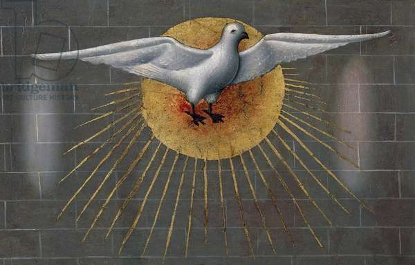 Dove on the Sun, symbol of the Holy Spirit, detail from the Pentecost, ca 1450, from the Master of Budapest, painting on wood.