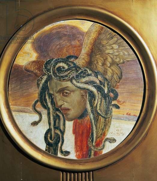 Medusa, 1906, by Galileo Chini (1873-1956), fresco, diameter 55 cm. Italian, 20th century.