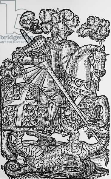 St George and the dragon, illustration from The Fairy Queen (The Faerie Queene), by Edmund Spenser (1522-1599), woodcut, 1589 edition, England, 16th century