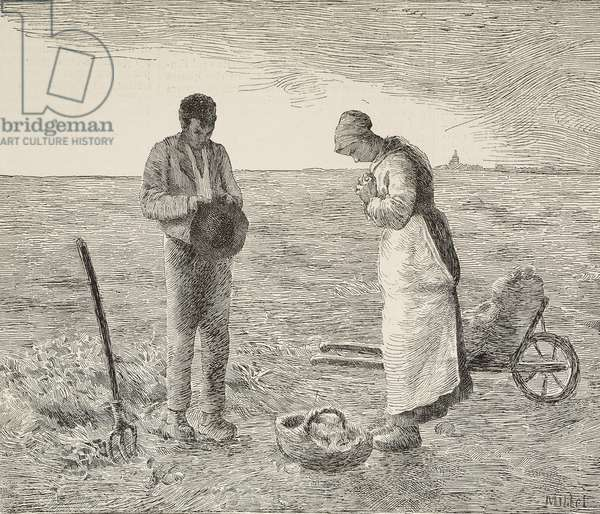 Angelus, couple of farmers in fields, engraving from painting by Jean-Francois Millet (1814-1875), French painter, from L'Illustrazione Italiana, year 16, no 32, August 11, 1889