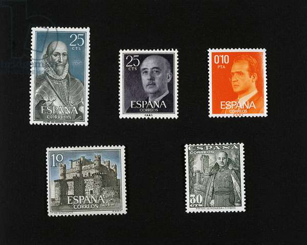 Postage stamps, Admiral Alvaro de Bazan Guzman (1526-1588), 1966, General Francisco Franco (1892-1975), 1958, King Juan Carlos I (born in 1938), 1977, Castles of Spain, 1966, Castle of Guadamur, and General Francisco Franco, 1948, Spain, 20th century