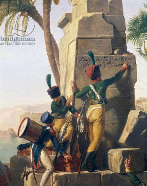 French Army resting in Syene (Aswan) on February 2, 1799, soldiers writing the distance from Paris on obelisk, Egypt, 1812, painting by Jean-Charles Tardieu