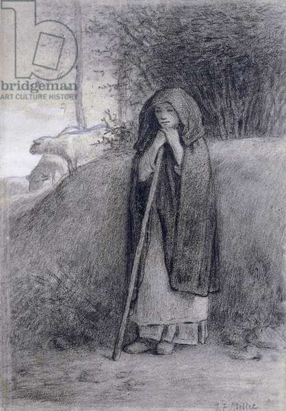 Shepherdess, by Jean-Francois Millet (1814-1875), charcoal and chalk drawing