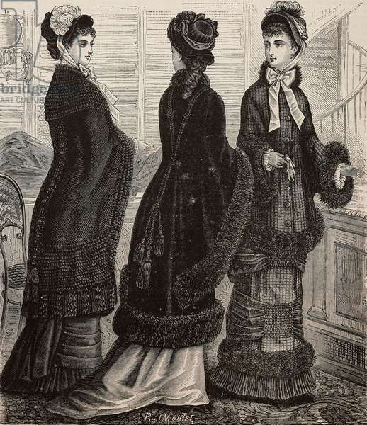 Women wearing Gro de Messine cape, checked drape paletot cloak, cashmere cape, Madames Mauris and Le Riche designs, engraving from La Mode Illustree, No 49, December 7, 1879