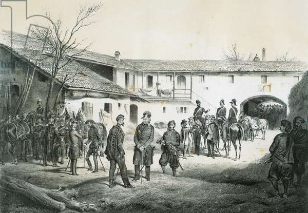 Victor Emmanuel II and General Josef Radetzky signing armistice at Vignale, engraving, 19th century