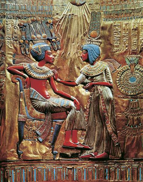 Tutankhamen and wife Ankhesenamon protected by solar disc on throne, from Treasure of Tutankhamen