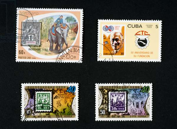 From left to right, Top to bottom: Postage stamp depicting elephant and English Penny Black, 1990, Laos, Postage stamp honoring Cuban trade unions