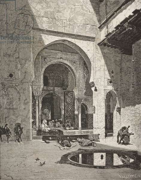 Gate of Justice, Alhambra in Granada, Spain, painting by Mariano Fortuny (1838-1874), engraving from L'Illustrazione Italiana, Year 3, No 25, April 16, 1876