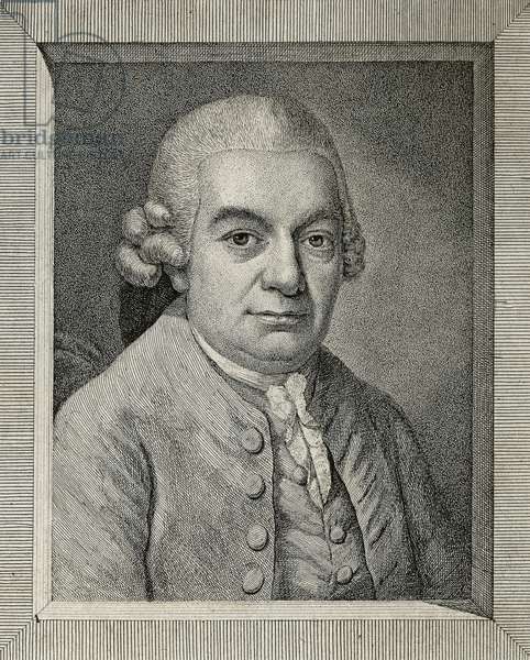 Austria, Vienna, Portrait of Carl Philipp Emanuel Bach (Weimar, 1714 - Hamburg, 1788), German composer and organist, engraving