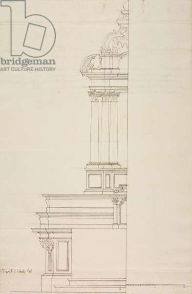 Design for altar of parish church of Castello, parish of Lecco, May 30, 1759, Cardinal Giuseppe Pozzobonelli, elevation drawing, Italy, 18th century