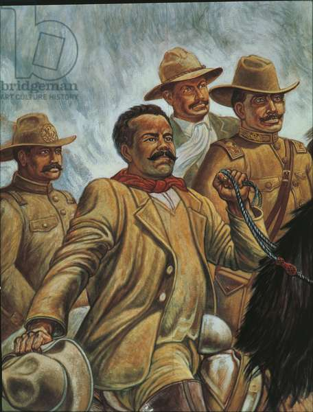 Pancho Villa at Zacatecas in 1910 (oil on board)