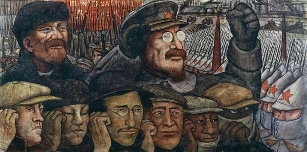The Russian Revolution and Marxism, detail from Man at the crossroads, looking with hope and high vision to a new and better future, by Diego Rivera (1886-1957), fresco from the Palace of Fine Arts, Mexico City. Mexico, 20th century.