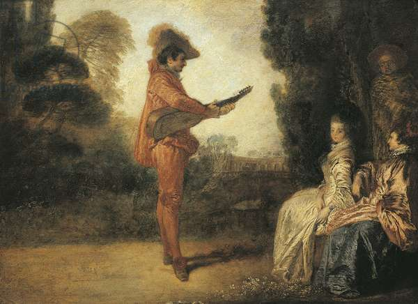 Castor (enchanteur), circa 1713-1714, by Jean-Antoine Watteau (1684-1721), oil on canvas, 19x25 cm
